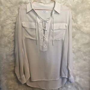 Equipment Tops - Equipment Lace Up Silk Blouse